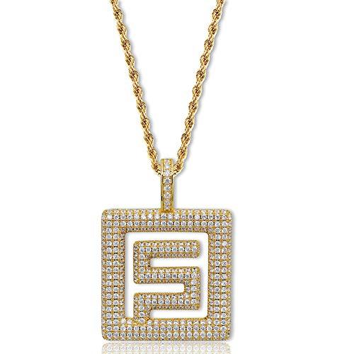 Collana ciondolo marchio hip-hop simbolo marea, accessori ciondolo collana zircone intarsiato rame (oro, argento), collana ciondolo-gold