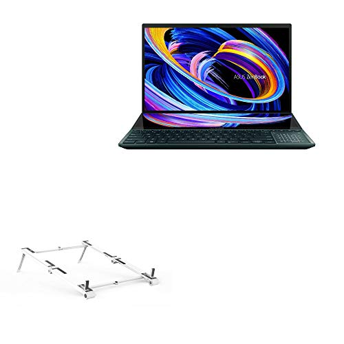 Suporte e suporte BoxWave para ASUS ZenBook Pro Duo 15 (UX582) [suporte de alumínio de bolso 3 em 1] portátil, suporte de visualização em vários ângulos para ASUS ZenBook Pro Duo 15 (UX582) - Prata metálica