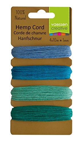 Vaessen Creative–Básico Surtido Cable, cáñamo, Azul/Verde, 4x 10m