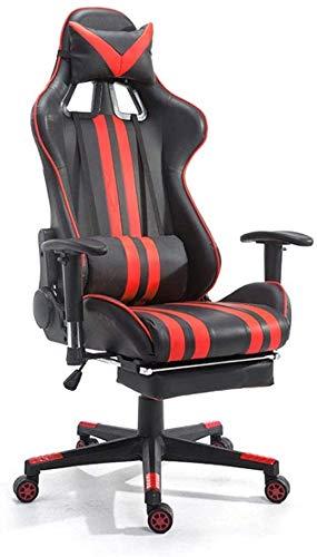 SJZLMB De juego, silla del Gamer con reposapiés, silla de la computadora ergonómico con soporte lumbar, una silla reclinable de juegos de PC for adultos, grandes y altas de cuero de fibra de carbono S