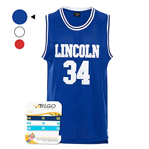 AFLGO Jesus Shuttlesworth #34 High School 'Lincoln' Basketball Jersey Hip Hop Party Clothing Include Wristbands (Blue, Large)