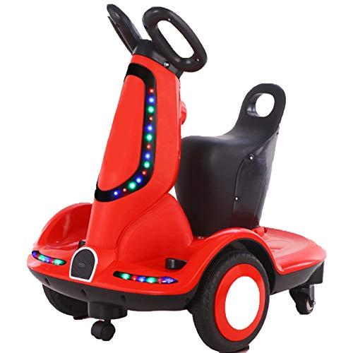 Motocicleta Eléctrica para Niños, Motocicleta Eléctrica Giratoria De 360 Grados, Carga De 100 Kg, Adecuada para Edades De 2 A 10 Años,Rojo
