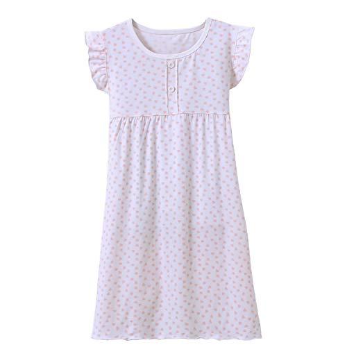 Prinzessin Nachthemden für Mädchen Kurzarm Kinder Schlafanzüge Rundkragen Weiß 9 Jahre