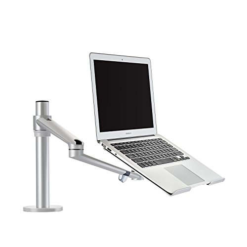 ThingyClub Adjustable Aluminium Universal Single Laptop Notebook or Tablet Desk Mount Arm Stand Bracket with Tilt and Swivel (Single Laptop - Silver)