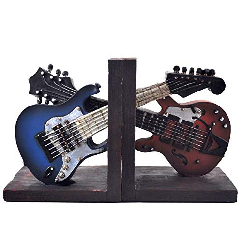 Buchstützen, Gitarre, für Regal, Vintage-Stil, Retro, Hipster, Büro, Musik-Cds, DVDs