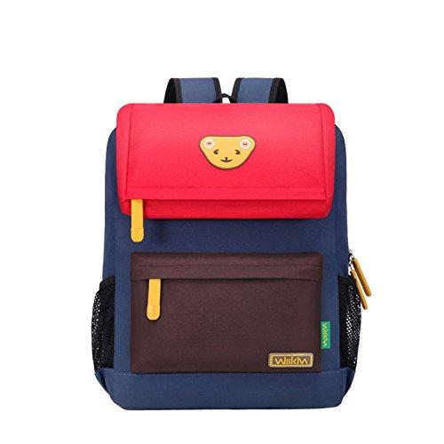 Willikiva Cute Bear Kids School Backpack for Children Elementary School Bags Girls Boys Bookbags (Red/Coffee/Royalblue, Medium)