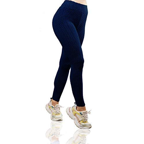 Varuwy Women s High Waist Yoga Pants TIK Tok Butt Lifting Anti Cellulite Workout Leggings Tummy Control Leggings Tight Navy