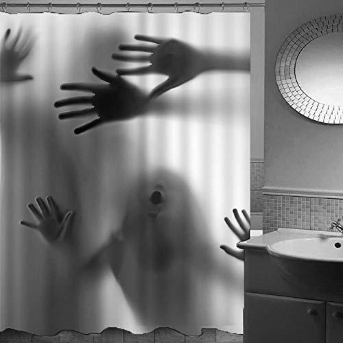 Duschvorhang-Halloween 36,Anti-Schimmel Anti-Bakteriell Wasserdichter Badvorhang 3D Wirkung Polyester Duschvorhang Mit 12 Haken,Umweltfre&lich Waschbar Duschvorhang 180X180Cm