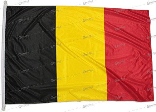 Drapeau Belgique 150x100 cm en Tissu Nautique Coupe-Vent 115g/m², Drapeau Belge 150x100 Professionnel Lavable, Drapeau de Belgique 150x100 avec Cordon, Double Couture périmétrique et Bande de Renfort