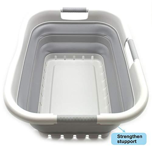 SAMMART Wäschekorb aus Kunststoff, faltbar, faltbar, tragbar, platzsparend' (Grau/Grau, 3 Rechteckig Behandelt)