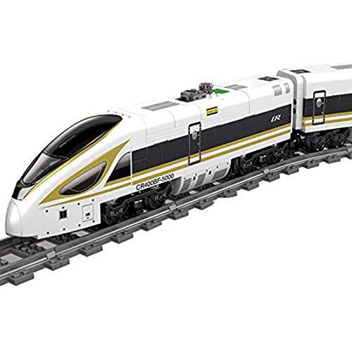 JYING Adventskalender Zuggleis Set DIY Baustein Modellbahn Fuxing Zug Spielzeug mit Licht, 647 + STK