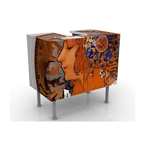 Apalis Waschbeckenunterschrank - Loren - Vintage Badschrank Orange Braun, Größe: 55cm x 60cm