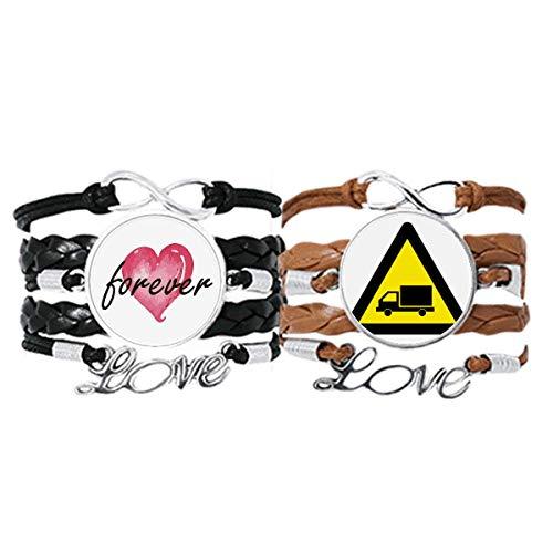 Bestchong Símbolo de advertencia amarillo negro camión triángulo pulsera correa de mano cuerda de cuero Forever Love pulsera doble conjunto
