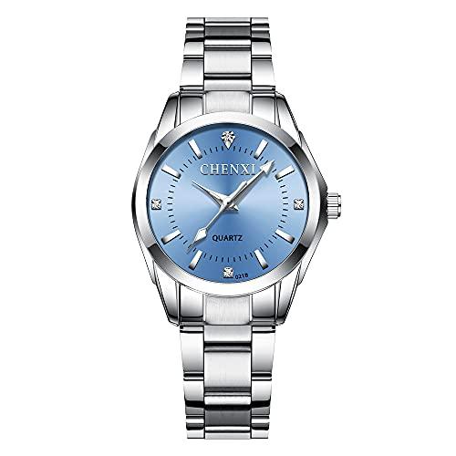 Reloj Para Mujer Reloj de Pulsera CláSico De Negocios,Banda de Acero,Elegantes Relojes de Cuarzo de Acero Inoxidable(Azul Claro)