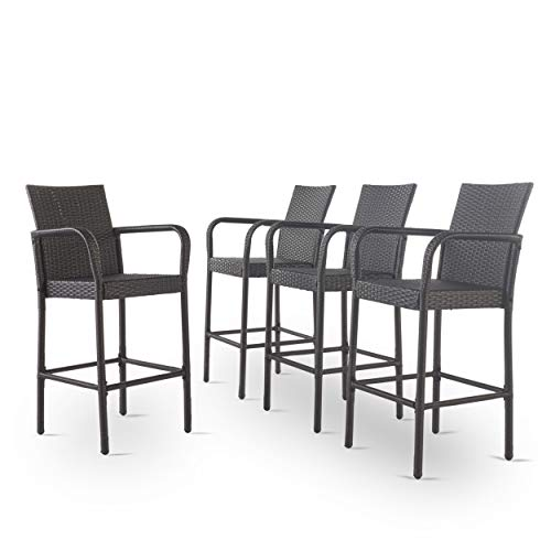 Christopher Knight Home Delfina Outdoor Wicker Barstools, 4-Pcs Set, Grey