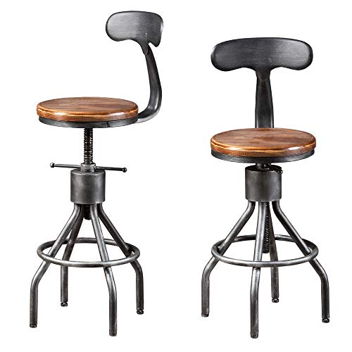 Topower Industrial Vintage Bar Stool,Kitchen Counter Height Adjustable Pipe Stool,Swivel Bar Stool with Backrest,Cast Iron Stool,Metal Stool,Fully Welded Set of 2 Wooden Top