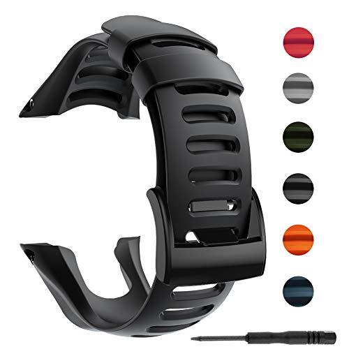 Bosixty Pulsera Correa de Reloj Ajustable Pulsera de Repuesto Accesorios de Banda de Reloj para SUUNTO Ambit 1 2 2R 2S 3 Sport Run Peak GPS Smartwatch Correa de Silicona