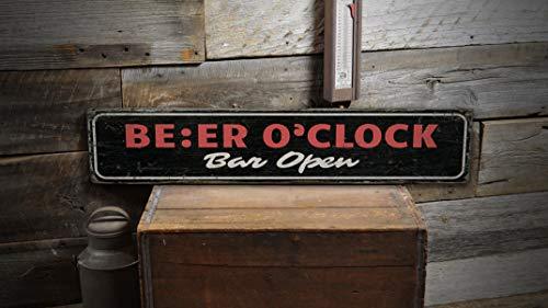 Ced454sy Bier-Oclock-Schild, Bier-Liebhaber, Bier-Dekor, Bar-Liebhaber, Bier-Trink-Schild, Trink-Dekor, Getränke-Schilder, Geschenk, rostiges Vintage-Holzschild für Ständer