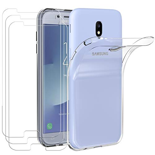 ivoler Hülle für Samsung Galaxy J5 2017 + [3 Stück] Panzerglas, Durchsichtig Handyhülle Transparent Silikon TPU Schutzhülle Hülle Cover mit Premium 9H Hartglas Schutzfolie Glas