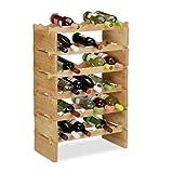 Relaxdays, Natur Weinregal stapelbar, Bambus Flaschenhalter für 36 Flaschen Wein, erweiterbarer Weinständer mit 6 Ebenen, 6 Ablagen