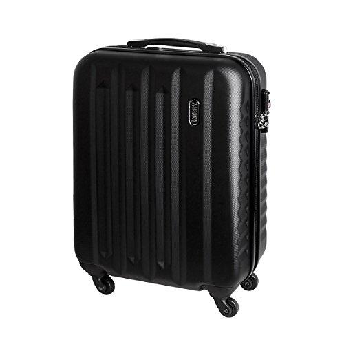 Hartschalen Koffer Handgepäck Bordgepäck Urlaub Reisen Trolley TSA Schloss 30 Liter Schwarz 55x40x20 811 C
