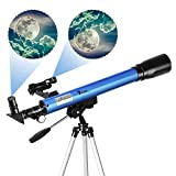TELMU Telescopio Astronómico - Telescopio Refractor F60050M / 5 con EspejoDiagonal de 45 ° y Observador dePuntos Rojos, Ocular - H12.5 mm y H20mm, Regalo para Principiantes y Niños