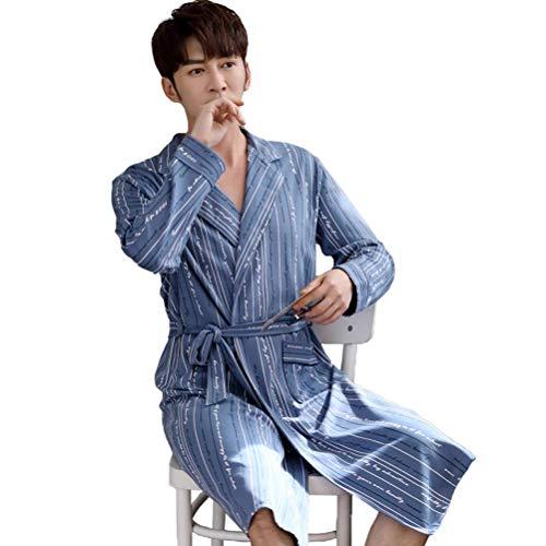 LLSS Camisón Primavera y otoño Algodón Puro de Manga Larga Albornoces Juveniles para Hombres Pijamas Largos de Invierno Tallas Grandes para el Servicio a Domicilio Camisa