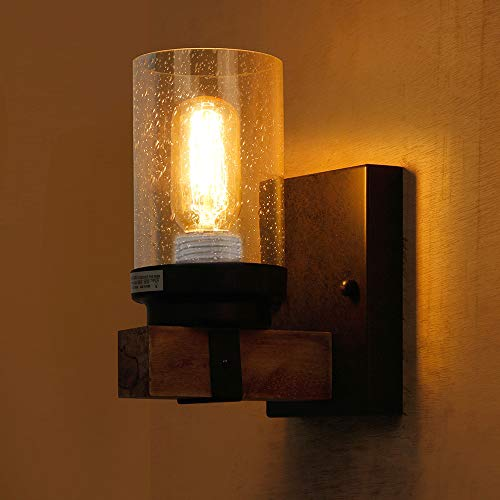 Anmytek Wall Lamp Wooden Wall Light Wall Sconce Fixture with Bubble Glass Shade (One Light)