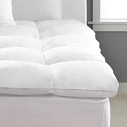 Pacific Coast Feather Luxe Loft Baffle Box Feather Bed, Natural-fill Mattress Topper, Hypoallergenic, Queen, White