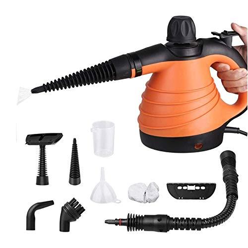 SIMBR Vaporeta de Mano Portátil y Manual de Alta Presión, Limpiador a Vapor con Potencia de 1000W, Tanque de 250ml y 9 Accesorios