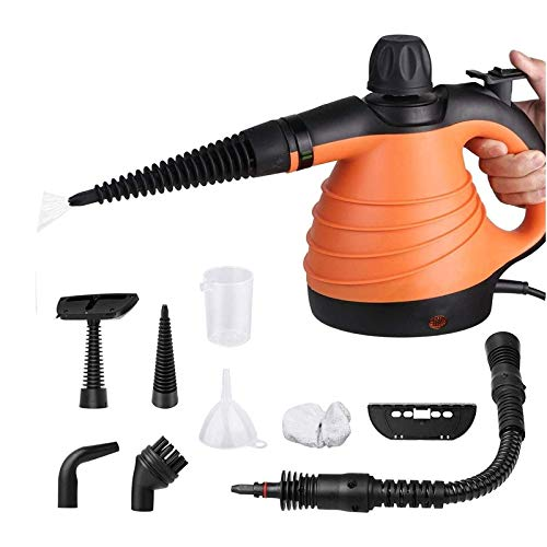 SIMBR Vaporeta de Mano Portátil y Manual de Alta Presión, Limpiador a Vapor con Potencia de 900W, Tanque de 250ml y 9 Accesorios
