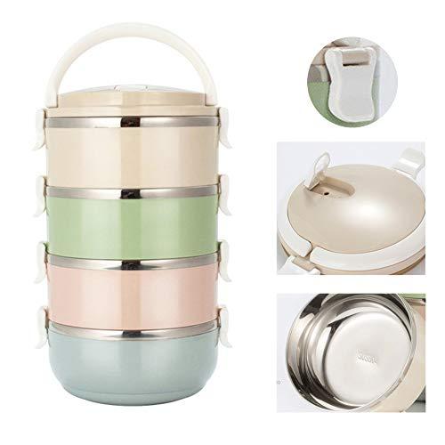 Animatey Mehrschichtige stapelbare Edelstahl-Lunchbox, isolierte Lebensmittel-Thermoskanne, Speisebehälter, Lebensmittel-Lagerbehälter-Wärmebox, Warmhaltebox, Essensbox (4-stufig)