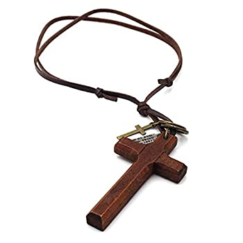LNKRE JEWELRY Cross Necklace for Men with Leather Chain Vintage Look Wood Necklace  Brown