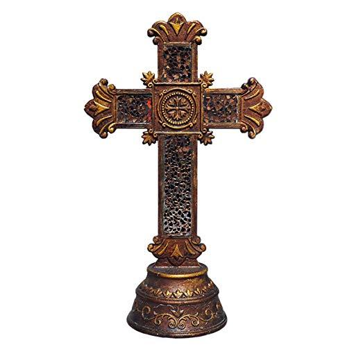 Ybzx Estatua de la Cruz de Cristo, Modelo de Escultura de Cruz, decoración Religiosa Retro Pintada al Aire Libre, decoración católica para el hogar, Regalos