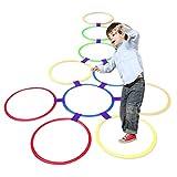 Kids Outdoor Jumping Ring Hopscotch Ring Spiel Spielzeug 10 Multi-Colored Plastic Ringe und 9 Anschlüsse für den Innen- oder Außenbereich-Fun Creative Play Set für Mädchen und Jungen(28cm) -