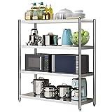ZWJLIZI Nivel 4 Shelf estanterías, Polivalente Estante de Acero Inoxidable 304 de Almacenamiento de pequeño, por Oficina Baño Cocina Sala despensa (Size : 60X40X120CM)