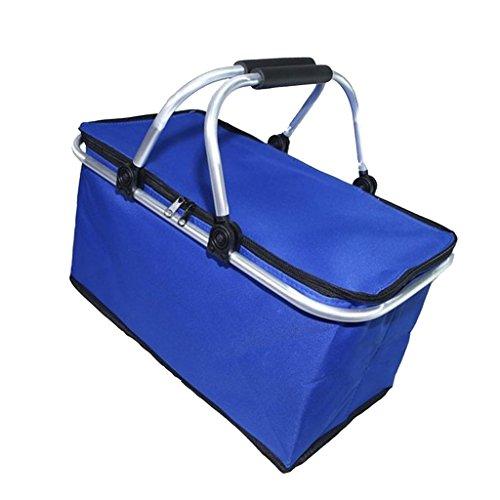 Homyl Sac à Déjeuner Isotherme Boîte Refroidisseur Accessoires de Pique-Nique Camping Voyage - Bleu, 41x27x5cm