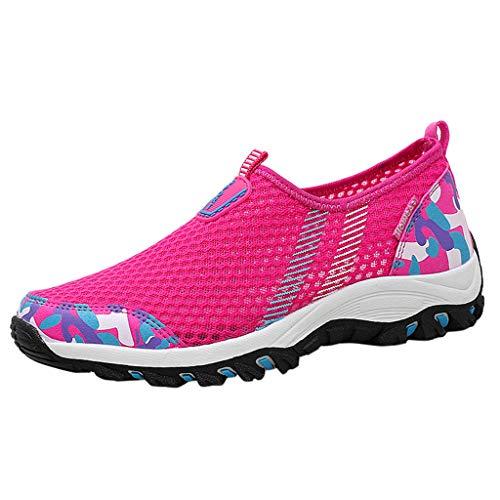 Luckhome Damen Sneaker Damen Damenschuhe Sneaker Sneakers Fitness Laufband Socken Damenmode Paare Breathable Slip On Laufschuhe Turnschuhe Kletterschuhe(Pink,EU:38)