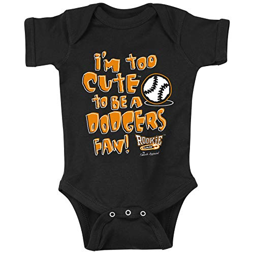 Rookie Wear by Smack Apparel San Francisco Baseball Fans. I'm Too Cute (Anti-Dodgers) Black Onesie (NB-18M) (Onesie, 12 Month)