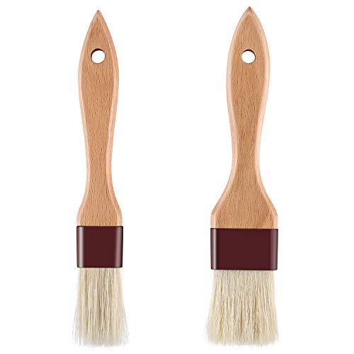 1 inch & 1.5 inch Pastry Brush Natural Boar Bristle Basting Brush Kitchen Oil Brush with Beech Wooden Handle and Hanging Rope String Grill BBQ Sauce Baster Baking Cooking Marinade Brushes (Pack of 2)