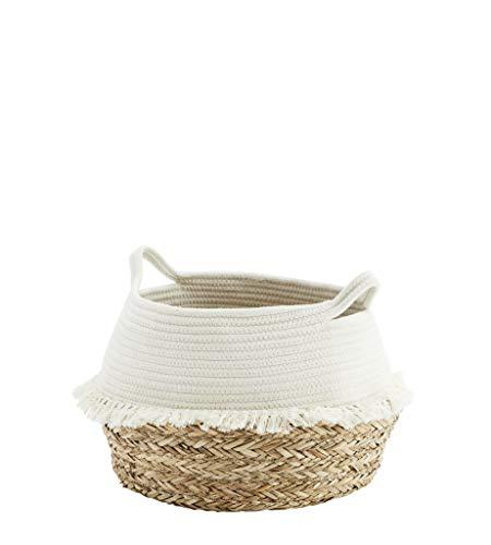MADAM STOLTZ Deko Korb aus Baumwollseil mit Fransen, Ø38 cm, Flechtkorb zur Aufbewahrung für Wäsche, Spielzeug oder Pflanzen, handmade