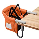 VEEYOO Clip On High Chairs - Fast Table Chair for Babies and Toddlers, Portable Baby Seat for Table (Orange)