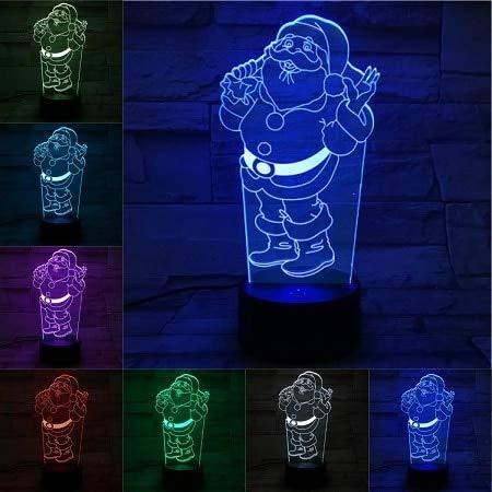 Santa Claus 3D color light touch base night light atmósfera fiesta tienda decoración iluminación decoración navideña decoración cálida interior 26D luz nocturna