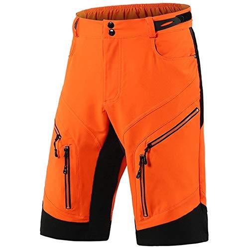 AMEA Herren Downhill Shorts Radfahren MTB Shorts, Mountain Bike Shorts, Radlerhose Baggy Pants Zyklus Loose Fit Short Für Outdoor Radfahren Laufen Fitnesstraining,Orange,M