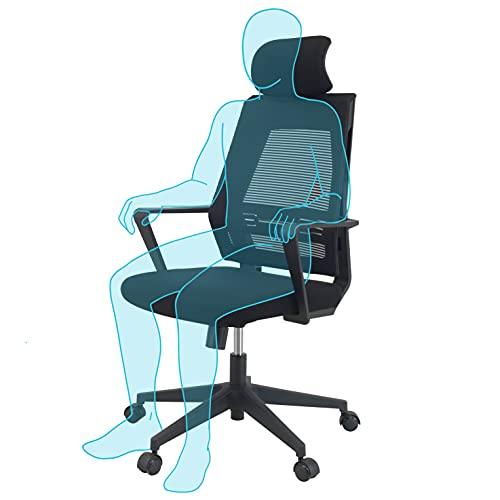 KLIM K300 Office Chair - Ergonomischer Bürostuhl + Weiches Sitzkissen & Stoff + Inklusive Kopfstütze + Bis zu 110 kg belastbar + Verstellbarer Stuhl für Büro und Zuhause + NEU 2021