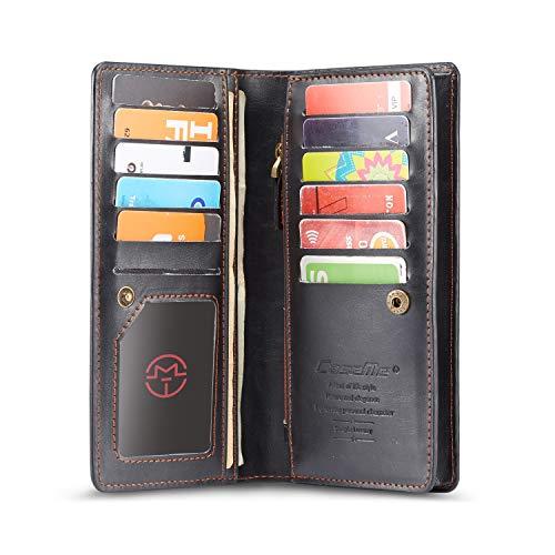 SAVYOU Wallet RFID Blocking Leather Clutch Card Holder Organizer Phone Bag - Black