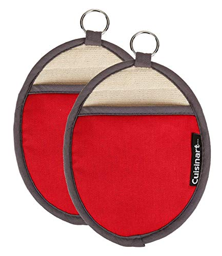 Cuisinart Silicone Oval Pot Holders and Oven Mitts - Heat Resistant Handle Hot OvenCooking Items Safely - Soft Insulated Pockets Non-Slip Grip and Convenient Hanging Loop - Red 2pk