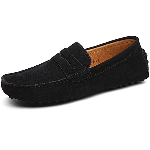 Jamron Uomo Pelle Scamosciata Penny Mocassini Comfort Scarpe da Guida Pantofole Nero S2088 EU47.5