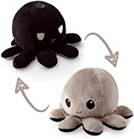 TeeTurtle | The Original Reversible Octopus Plushie | Patented Design | Black and Gray | Show your mood without saying a...