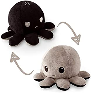 TeeTurtle | The Original Reversible Octopus Plushie | Patented Design | Black and Gray | Happy + Angry | Show your mood wi...